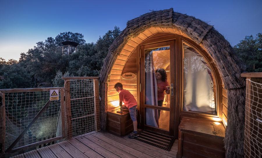 Duerme en una caba a en los rboles gratis monte for Hotel con casas colgadas de los arboles
